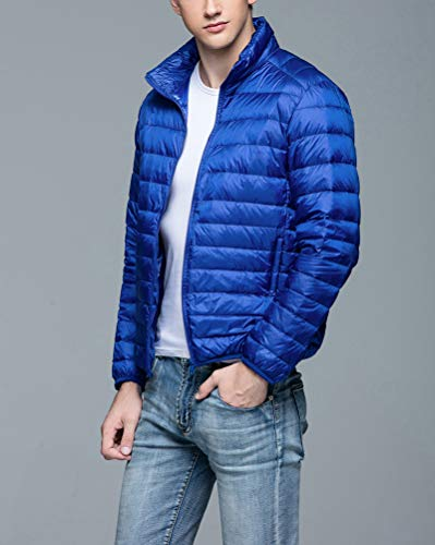 Jacket Short Down Warm Stand Packable Men's Outwear Suncaya Blue Jacket Lightweight Sapphire Down Collar qw1UxXtTt