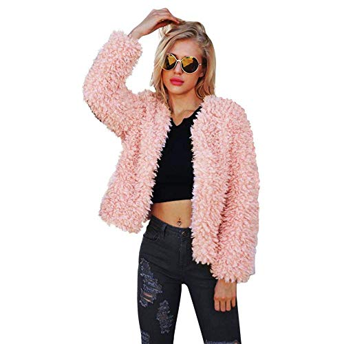(Women Warm Long Sleeve Parka Faux Fur Coat Overcoat Fluffy Top Jacket Pink, Small)