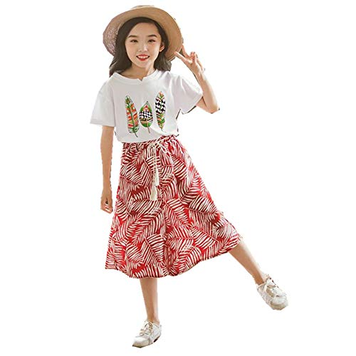 FTSUCQ Girls Floral Leaf Printed Shirt Top + Wide Leg Pants,Red 160 by FTSUCQ