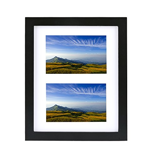 8x10 Tabletop Picture Frame, Alotpower Desktop Photo Frame Display Two 4x6 Openings Desktop Black Photo - Frame Picture Wooden Friend