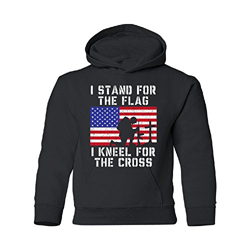 Zexpa Apparel Stand for USA Flag Kneel for Cross Youth Hoodie 4th of July USA Sweatshirt Black Youth Small Cross Kids Sweatshirt