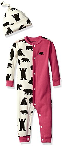 Little Blue House by Hatley Baby Girls' Romper & Cap, Black Bears/Blushes, 12-18M