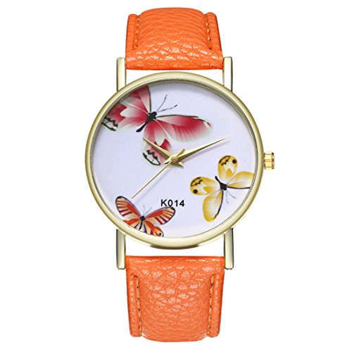 Band Artificial Dial Leather (Loweryeah Women Butterfly Pattern Casual Quartz Watch Print Dial Watch Artificial Leather Band(Orange))
