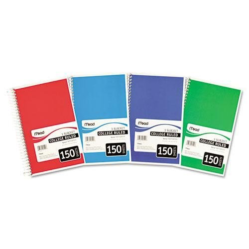 Mead Spiral Bound Notebook White, 3 Subject, College Rule, 6 x 9-1/2, Sold as 6 Pack (06900) by Mead