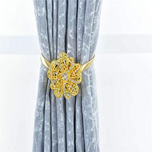 Gotian 2PCS Magnetic Curtain Hooks Rope Buckle Tie Backs Holdbacks Sparkle Elegant Luxurious Magnet Clip Curtain Tieback Suit for Living Room Bed Room Study Room Decoration (Yellow)