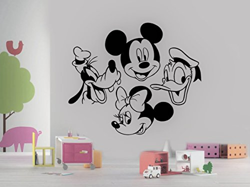 Mickey Mouse Minnie Goofy Donald Duck Head Disney Cartoon Characters for Kids Children Room Wall Window Birthday Party Decoration Vinyl Decal Sticker 24 Inches (Cheep Halloween Decorations)