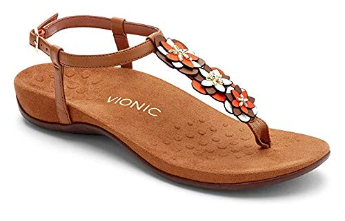Vionic Women's Rest Paulie Toe-Post Sandal - Ladies T-Strap Sandals with Concealed Orthotic Arch Support Tan 8 Medium US