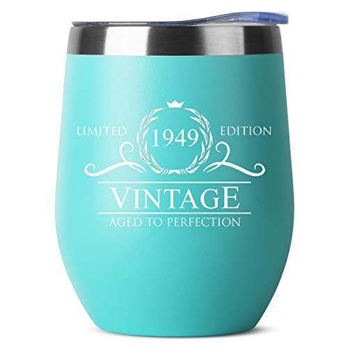 1949 70th Birthday Gifts for Women Men | Vintage Aged to Perfection Stainless Steel Tumbler | 12 oz Mint Tumblers w Lid | Funny Gift Ideas for Him Her Husband Wife Mom Dad | Insulated Cups 70 th bday