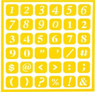 Number /& Punctuation Reusable Flexible Stencils Repositionable Numbers with Icons Adhesive Backed How to Etch CD