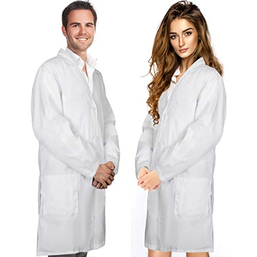 Professional Men & Women Lab Coat Cotton Material 41 Inch Long (White) Unisex Doctor Costume Medical Chemistry Scientist Button laboratory Male Jacket Lightweight Labcoat Doctors Scrubs Coats (Medium)
