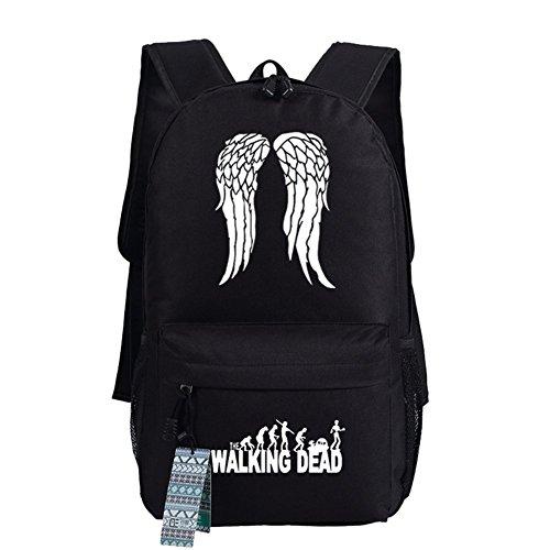 The Walking Dead Cosplay beiläufige Beutel-Rucksack-Schultasche-leuchtende Tasche 18 Wahlen Schwarz Weiße Flügel