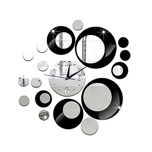 - MCC 3D DIY Wall Clock Mirror Three Dimensional Round Circle Clock , black silver