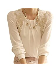 Changeshopping Women Lady Vintage Long Sleeve Sheer Tops Lace Shirt Chiffon Blouse