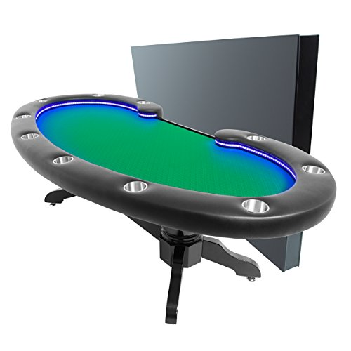 BBO Poker Lumen HD Lighted Poker Table for 10 Players with Green Speed Cloth Playing Surface, 101.5 x 46-Inch Oval, Includes Matching Dining Top by BBO Poker (Image #1)