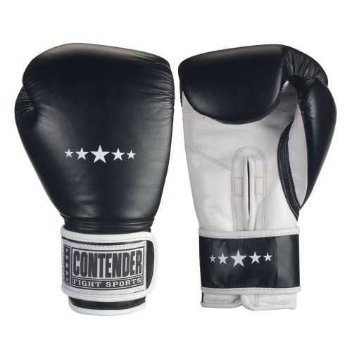 Contender Fight Sports Stand-Up Bag Gloves, Black/White, 14-Ounce ()