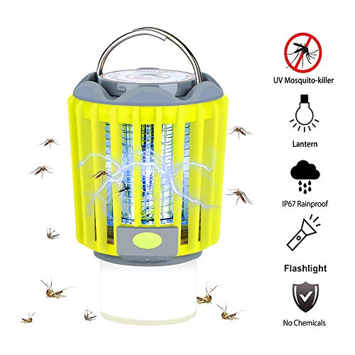 Bug Zapper Camping Lantern LED Flashlight 3 in 1 Mosquito Zapper Charge Via USB Lightweight Camping Gear & Accessories for The Outdoors & Emergencies IP67 Waterproof Compact 2000mAh