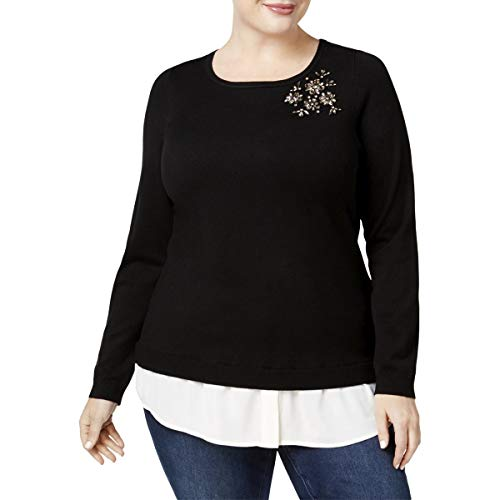Charter Club Womens Plus Layered Rhinestone Pullover Sweater Black 1X from Charter Club