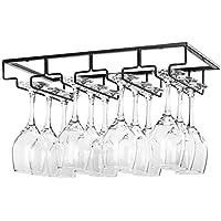 Bostar Wine Glass Holder Rack Under Cabinet 3/4 Rows Glasses Storage Hanger Organizer for Cabinet Kitchen Bar Suitable…