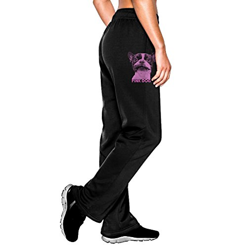 FALKING Women's Funny Cotton Sport Pink Dog Jogger Sweatpants M Black