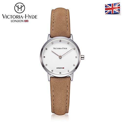 Ladies Quartz (Victoria Hyde Women Quartz Waterproof Watches Small Dial Tan Genuine Leather Strap for Lady)