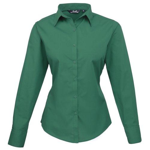 Premier - Camisa lisa de popelín de manga larga para mujer Verde esmeralda