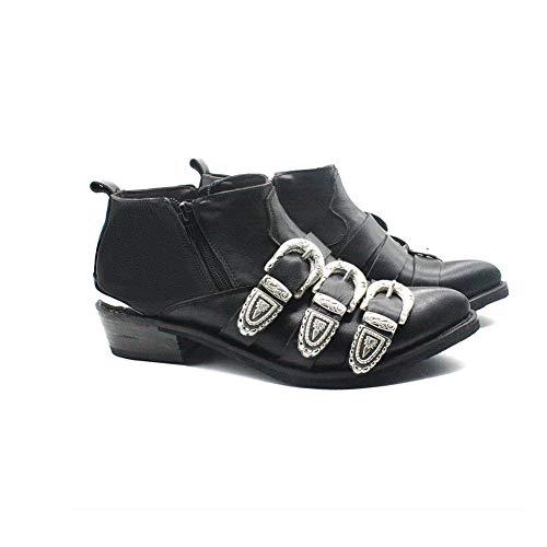 MJ Handmade Leather Boots MJ Classic Bad Version Cosplay Michael Jackson Cowboy Shoes Black -