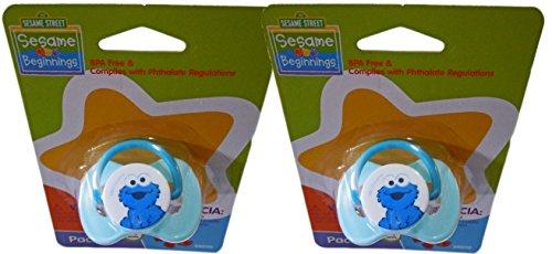 (Sesame Street Beginnings 0+ Month Pacifiers With Characters Big Bird, Elmo & Cookie Monster (2 Cookie Monster))