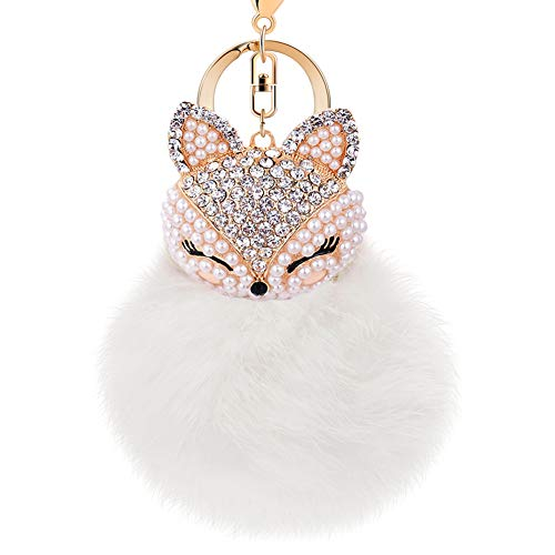 Boseen Genuine Rabbit Fur Ball Pom Pom Keychain with A Fashion Alloy Fox Head Studded with Synthetic Diamonds(Rhinestone) for Womens Bag Cellphone Car Charm Pendant Decoration(White Style 3)