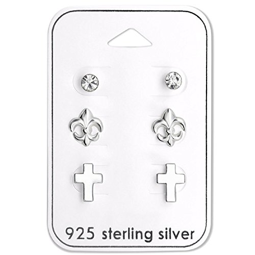 925 Sterling Silver (SET OF 3) Fleur De Lis, Cross, & Crystal Stud Earrings 28489