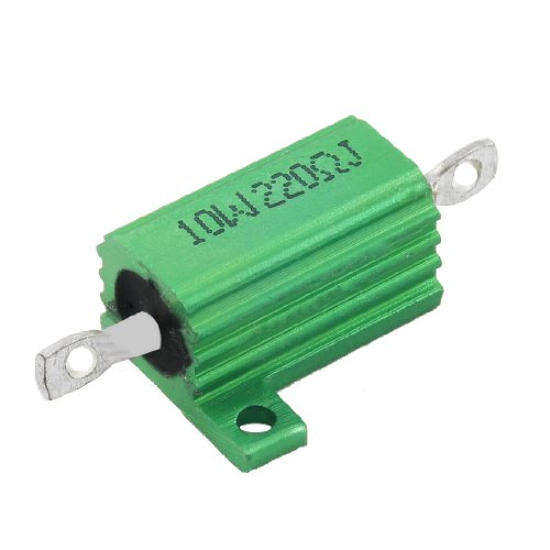 uxcell Green 10 Watt 220 Ohm 5% Aluminum Shell Wire Wound Resistor ()