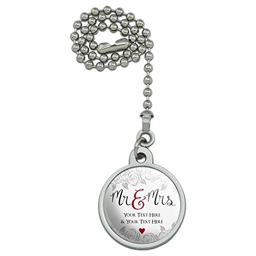 GRAPHICS & MORE Personalized Custom 2 Lines Mr and Mrs Wedding Ceiling Fan and Light Pull Chain