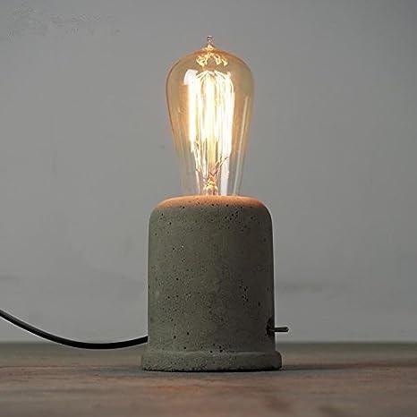 IJ INJUICY Vintage Cement Concrete Table Lamp Loft Retro Style Desk Lamps  For Living Room