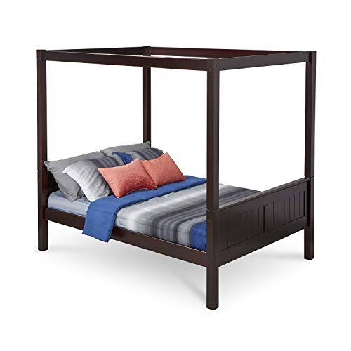 Full Canopy Bed with Panel Headboard in Cappuccino Finish