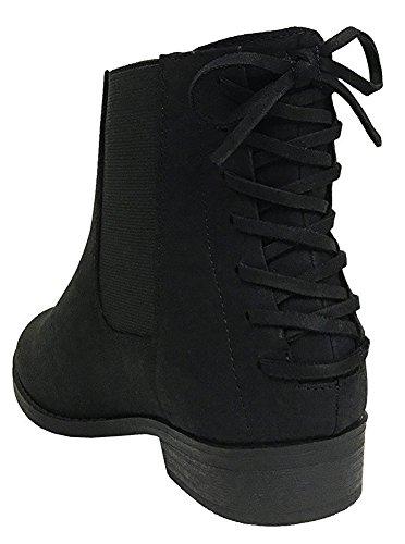 Women's Heel Bootie Ankle Lace City Classified Black up Flat NB Back 5BYTgxwO