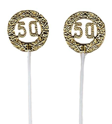 (12 Pieces Gold 50th Anniversary Plastic Round Picks Decorations 2.5
