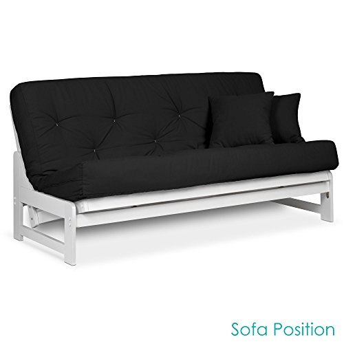 Arden White Futon Set Queen Size - Armless Futon Frame with Mattress Included (Twill Black), More Mattress Colors & Sizes Available, Space Saving Modern Sofa Bed Sleeper Country Futon Frame