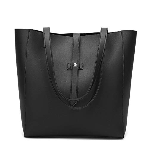 ag for Women PU Leather Shoulder Handbags Fashion Large Tote bag Perfect for Commuter Shopping and Gift Black ()