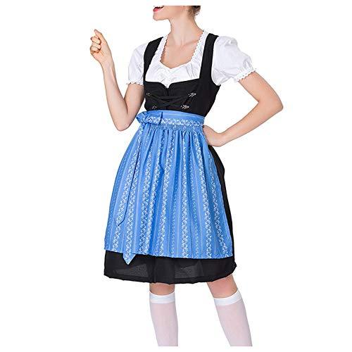 Mikilon Women's German Dirndl Dress Costumes for Bavarian Oktoberfest Carnival Halloween Blue -