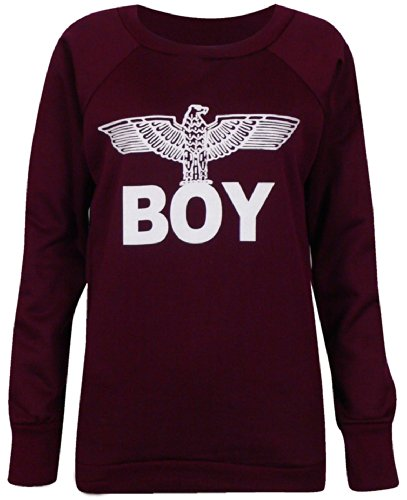 Nueva Mujer Boy London Eagle Impresión T shirt- Vest- sudadera Tops Talla UK 8–�?4 Rojo