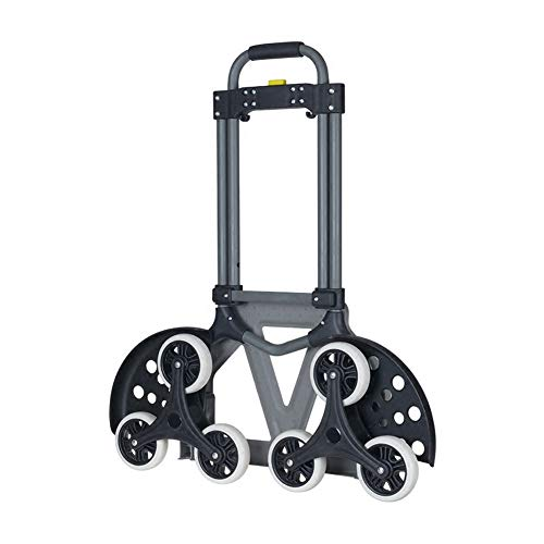 Compact Utility Cart Adjustable (QIANGYUE 6 Wheel Folding Hand Truck, Portable Magna 70KG Capacity Heavy Duty Aluminum Carts Foldable Height Adjustable Utility Trucks)
