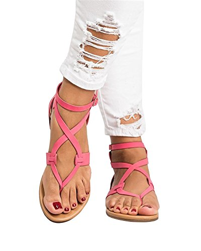 Buckle Casual Strappy Ankle ThusFar Shoes Toe Flat Clip Strap Rose Thong Women Sandals Leather Sandals Zxqqw5Av0