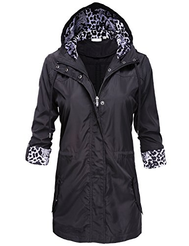 Luna Flower Water Resistant Lightweight Snap Buttoned Long Rain Jackets 117-Black X-Large