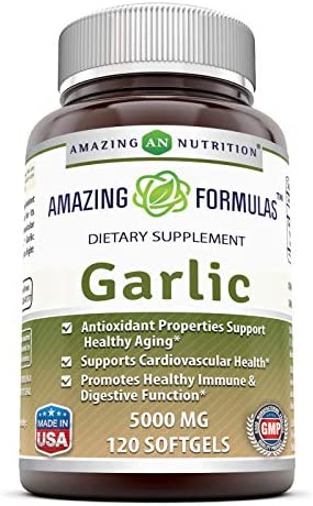 Amazing Nutrition Amazing Formulas Garlic Supplement 5000 mg, Equivalent to 5,000 mg of Fresh Garlic Bulb per softgel 120 softgels per Bottle Antioxidant Properties