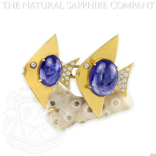 Blue Sapphire Yellow Brooch (18K YELLOW GOLD, CABOCHON SAPPHIRE AND DIAOND FISH AND CORAL PIN, BY ALETTO BROTHERS. (J4026))