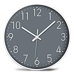 YUNDO Wall Clock 12'' Non-Ticking ,Silent Battery Operated Modern Simple Style with ABS Frame HD Glass Glass Cover for Kids Living Room Bedroom Kitchen School Office Decor (Gray)