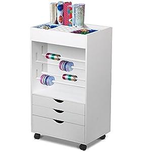 World Pride White Craft Storage Cart Rolling Organizer Drawer Wrapping Gift  20 X 14 X 35.4u0027u0027