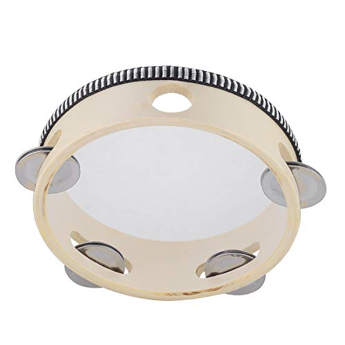 Hand Held Tambourine Drum 6 inch Bell Birch Metal Jingles Percussion Gift Musical Educational Toy Instrument for KTV Party Kids Games (6 inch)