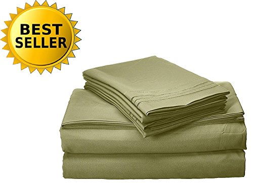 Elegant Comfort Bedding Collection 3-Piece Bed Sheet Set 1500 Thread Count Egyptian Quality Wrinkle Free Hypoallergenic Deep Pockets, Twin, Sage-Green ()