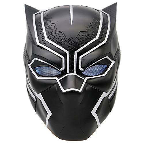 Black Panther Mask Helmet with Led Costume Props for Men Halloween Cosplayt -