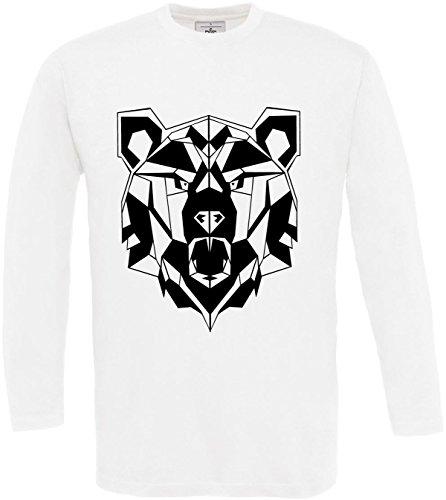 larga Oso Hombre Camiseta Manga Geom Hombre Cita qfx4z6